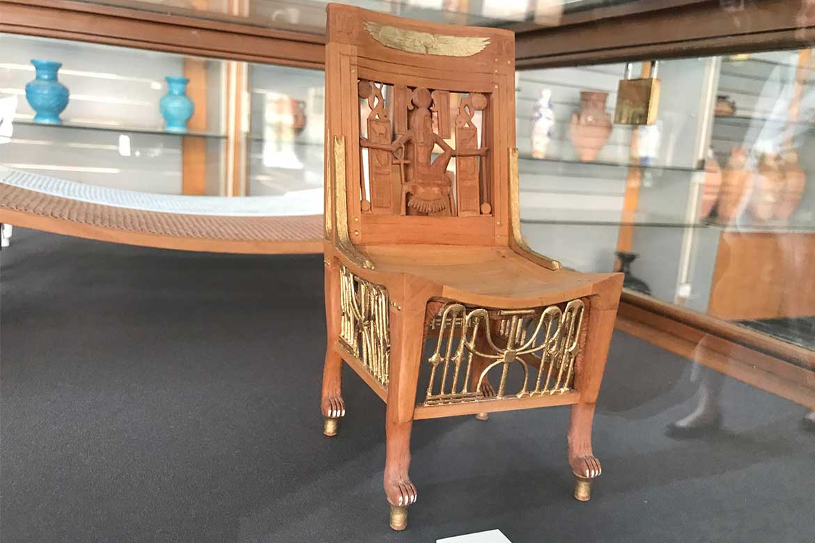 Chair from Tutankhamun's tomb, 18th Dynasty, c. 1340 BC. Egyptian Museum, Cairo