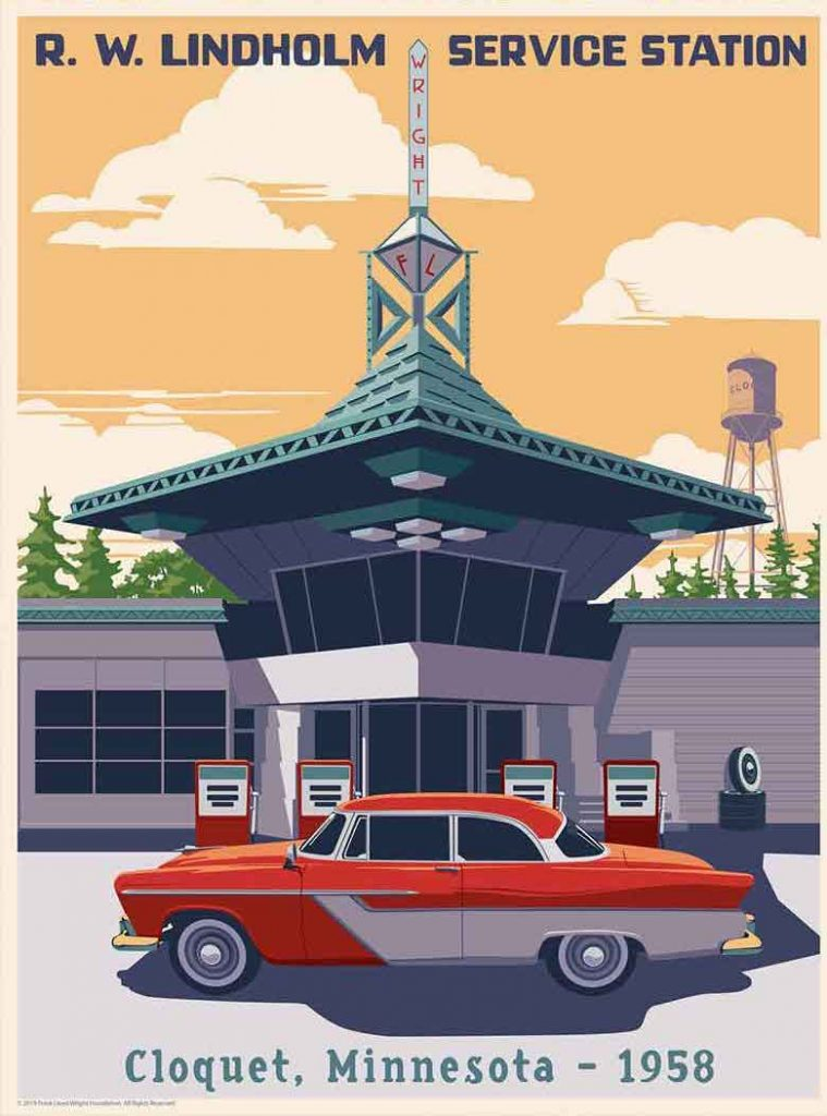 Wright's only gas station, originally designed for his utopian Broadacre City