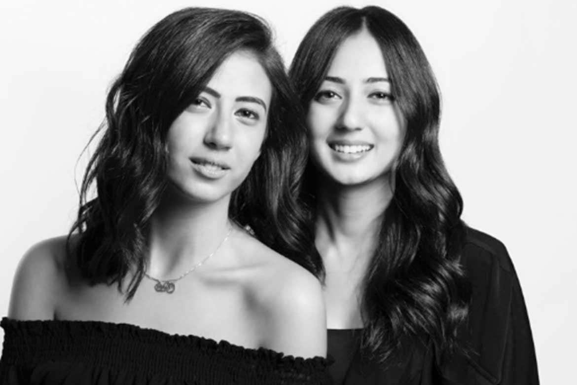 Egyptian fashion designers Monaz and Aya Abdel Raouf founders of Okhtein