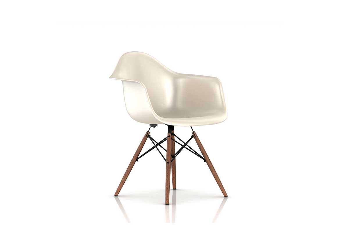 Mid Century Modern Molded Plastic and Fiberglass Armchair by by Ray and Charles Eames. Photo by Herman Miller