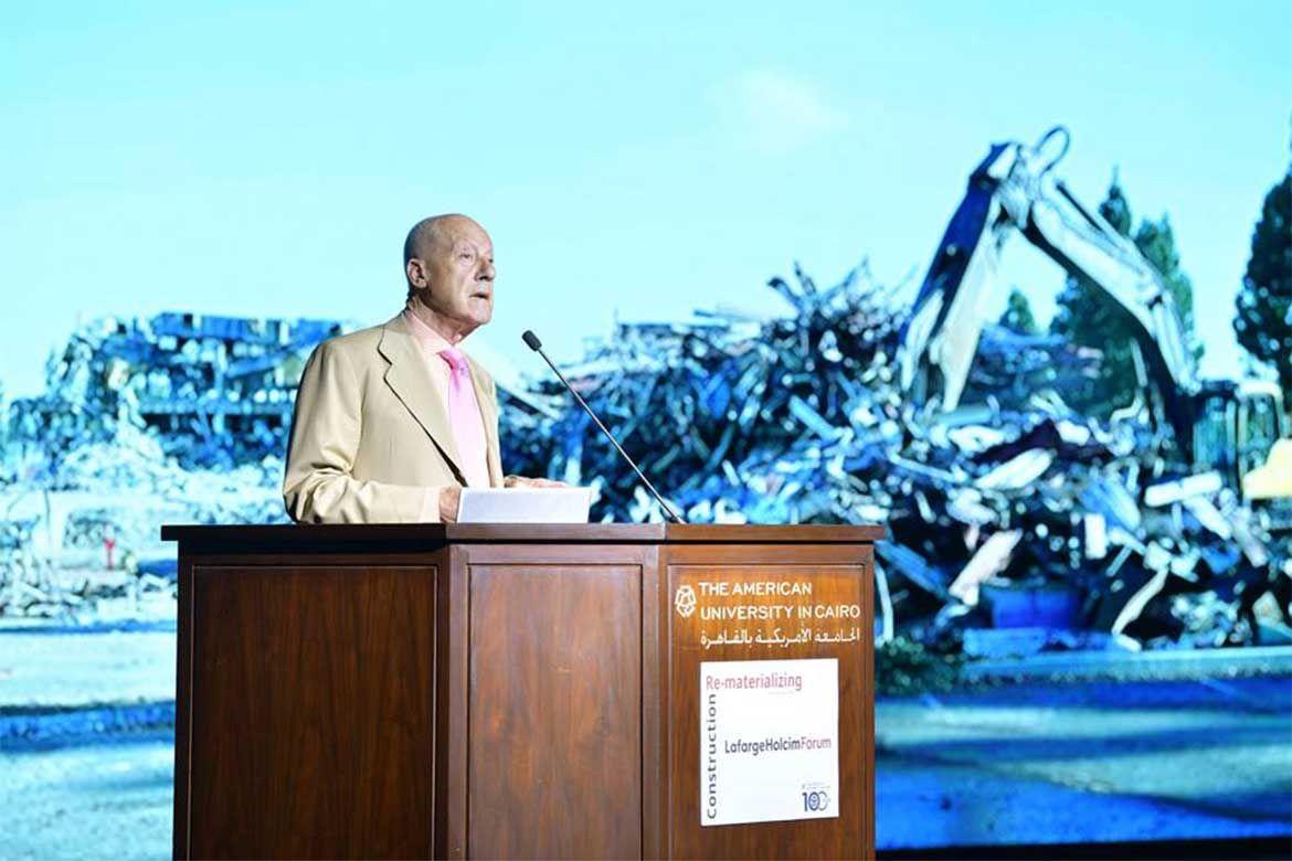 Norman Foster's lecture at AUC – Photo courtesy: @aucegypt