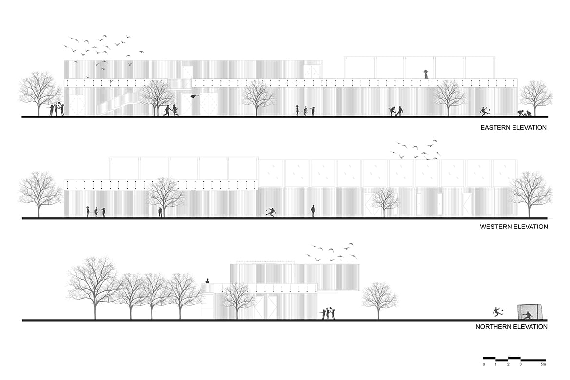 zed park sports facility drawings cross section