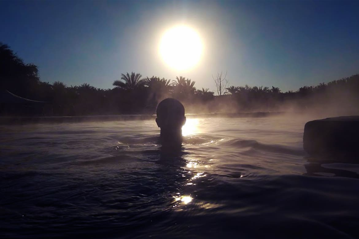 hot springs relaxing siwa sunrise palm trees chilling rleax chill