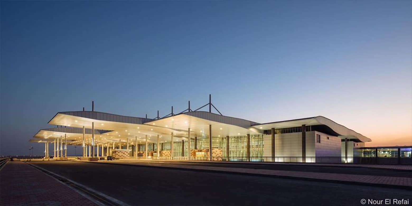 HURGHADA AIRPORT EXTERIOR SUNSET PHOTOGRAPHY CONTEMPORARY ARCHITECTURE