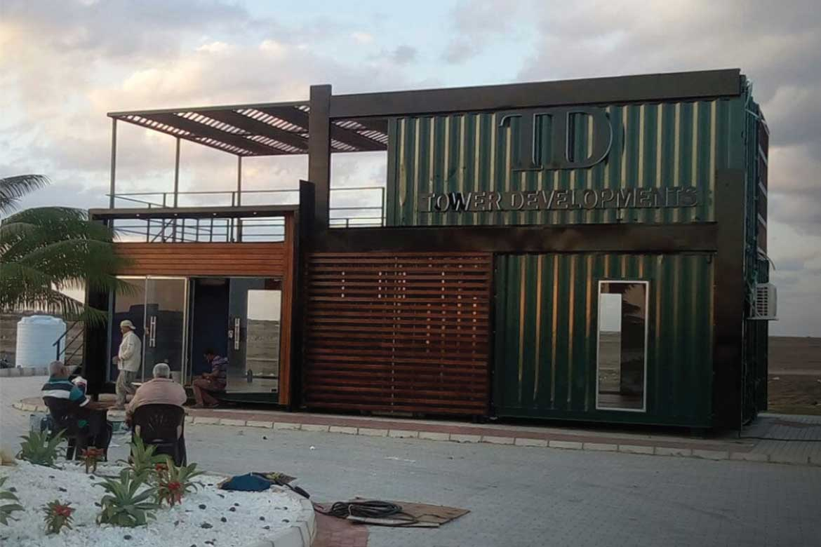 Tower Development booth designed by Qubix container architecture firm in Egypt