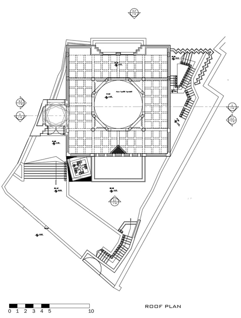 Roof plan architecture drawing mosque design