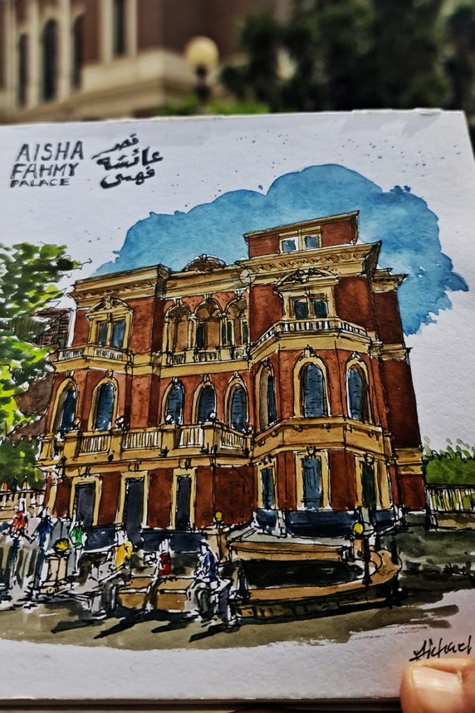 Aisha Fahmy Palace sketch by Michael Safwat. Photo Courtesy: Linesmag & Michael Safwat